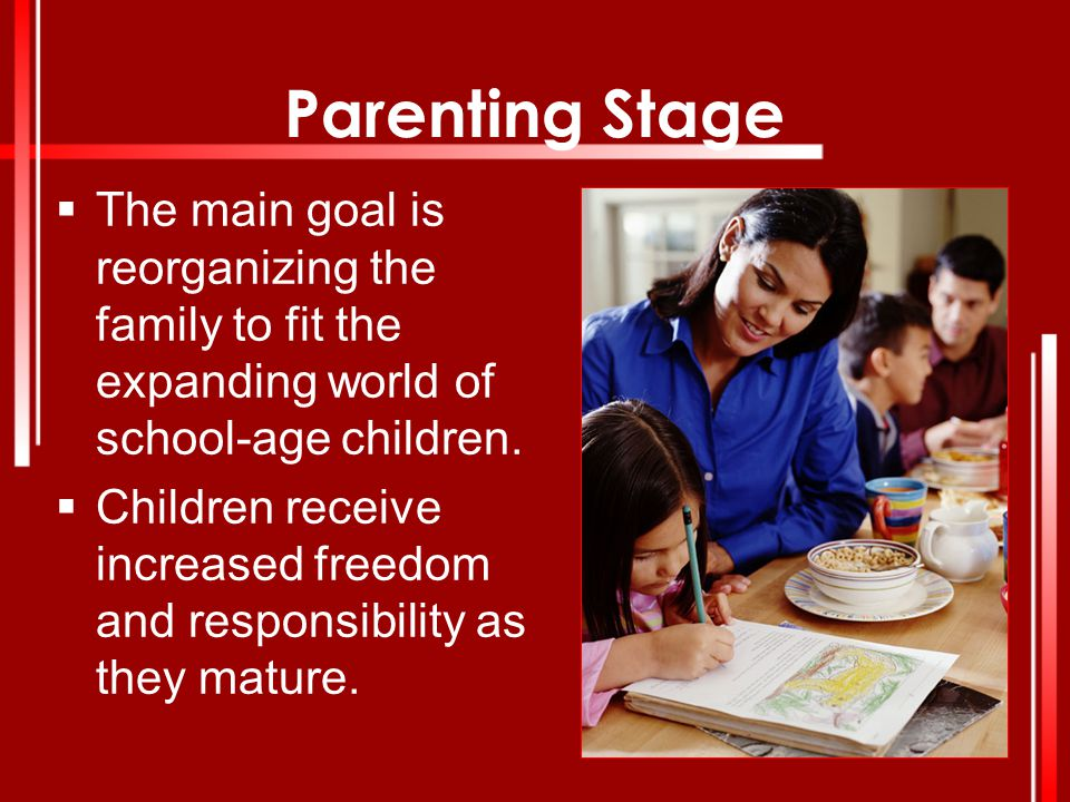 Parenting Stage The main goal is reorganizing the family to fit the expanding world of school-age children.
