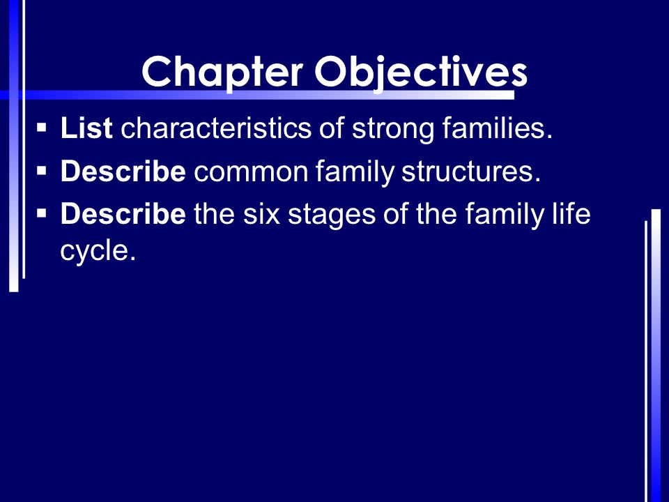 Chapter Objectives List characteristics of strong families.