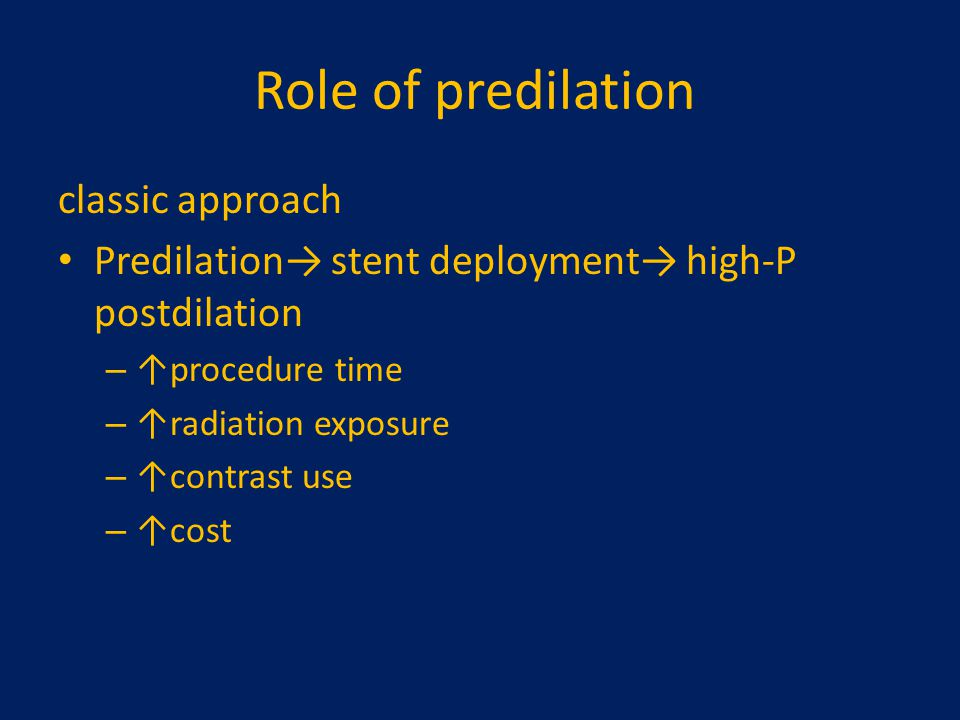 Role of predilation classic approach