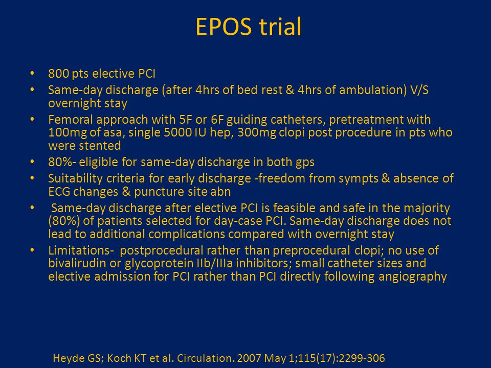 EPOS trial 800 pts elective PCI