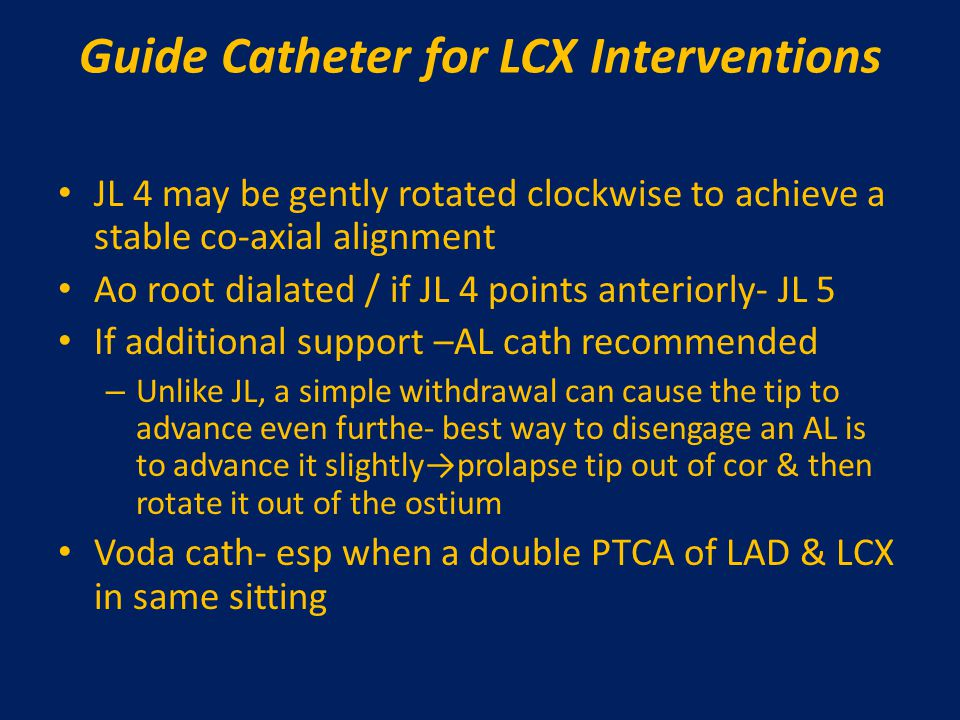Guide Catheter for LCX Interventions