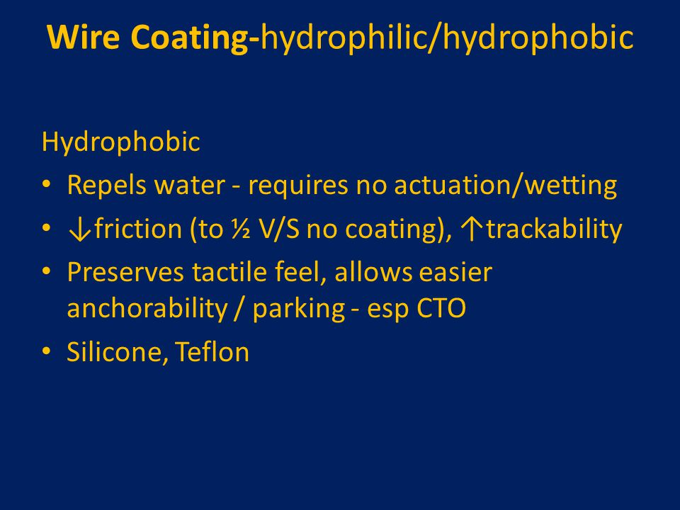 Wire Coating-hydrophilic/hydrophobic