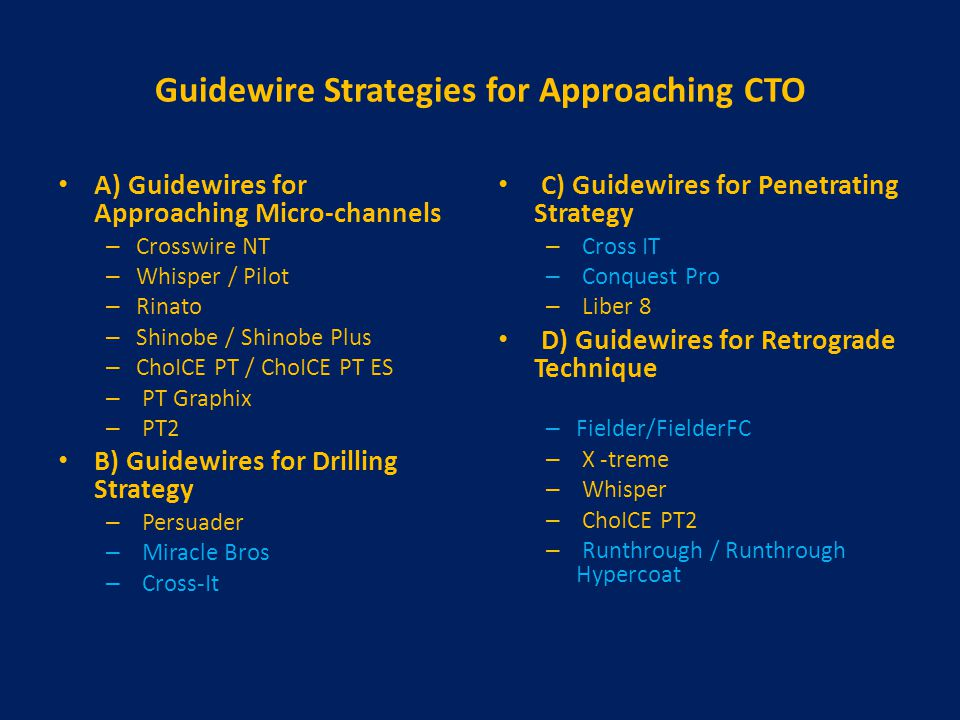 Guidewire Strategies for Approaching CTO