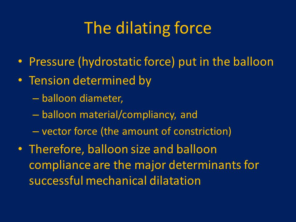 The dilating force Pressure (hydrostatic force) put in the balloon