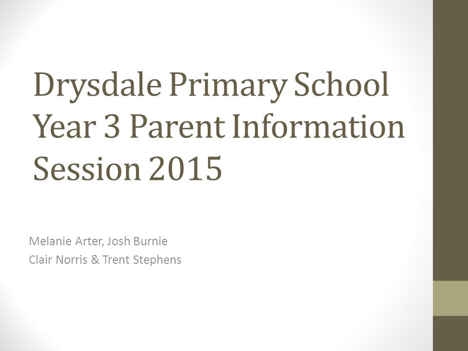 Drysdale Primary School Year 3 Parent Information Session 2015