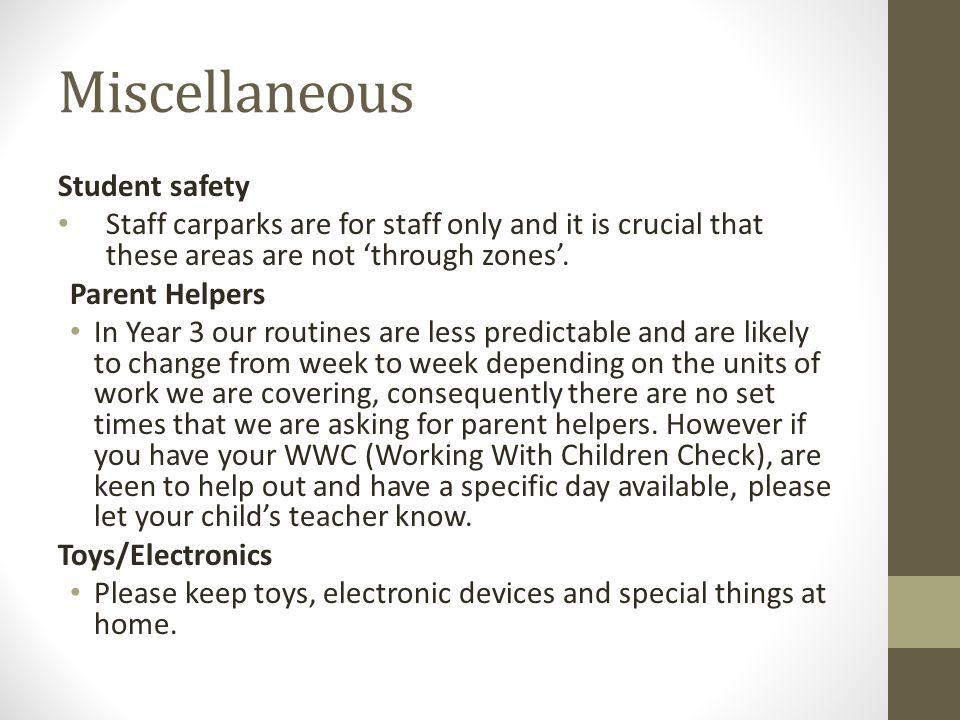 Miscellaneous Student safety