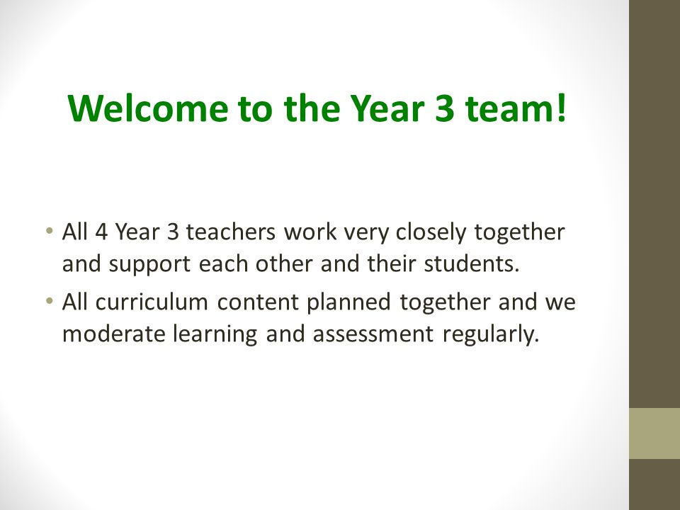 Welcome to the Year 3 team!