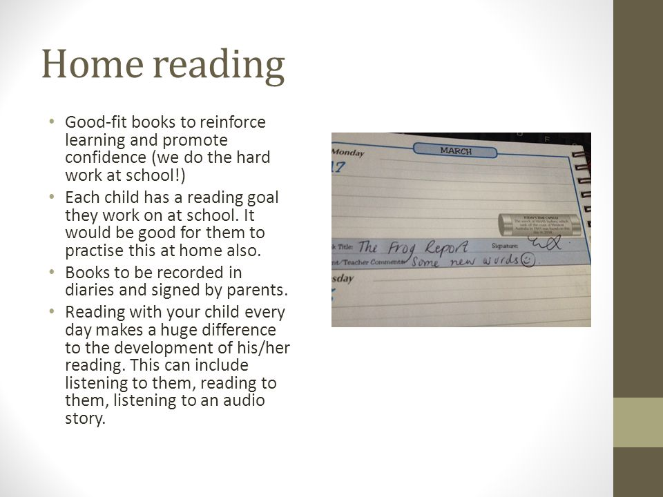 Home reading Good-fit books to reinforce learning and promote confidence (we do the hard work at school!)