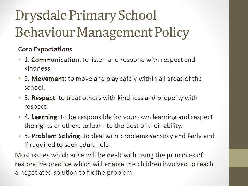 Drysdale Primary School Behaviour Management Policy