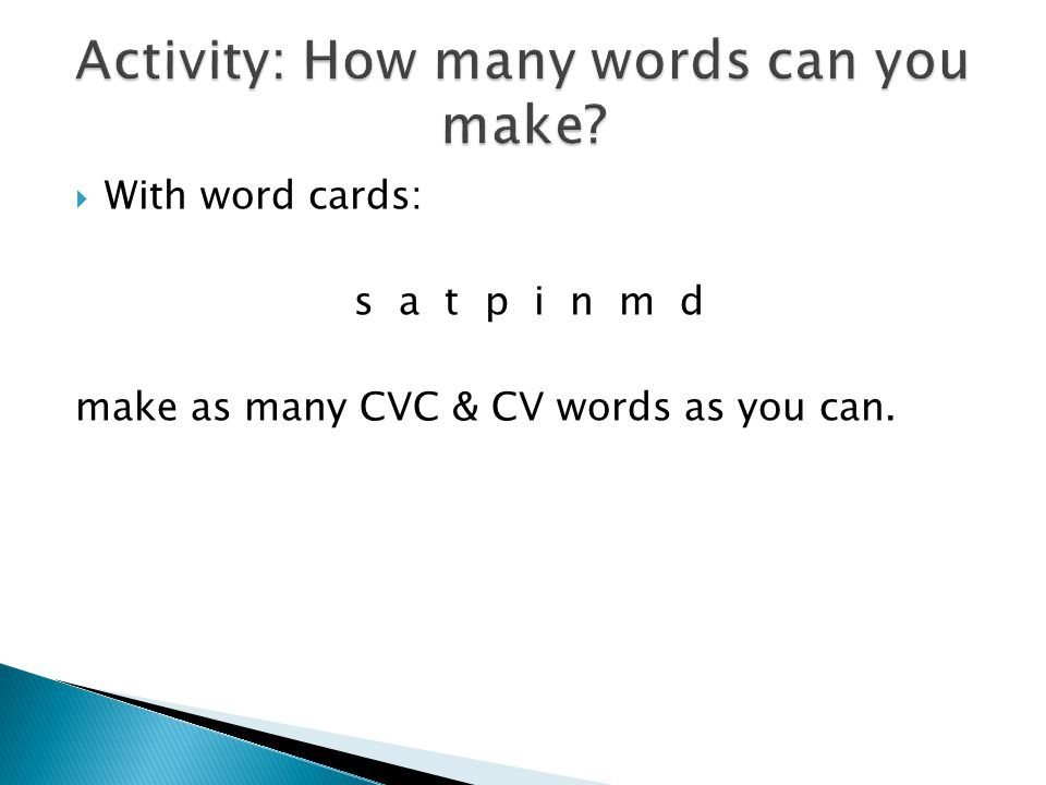 Activity: How many words can you make