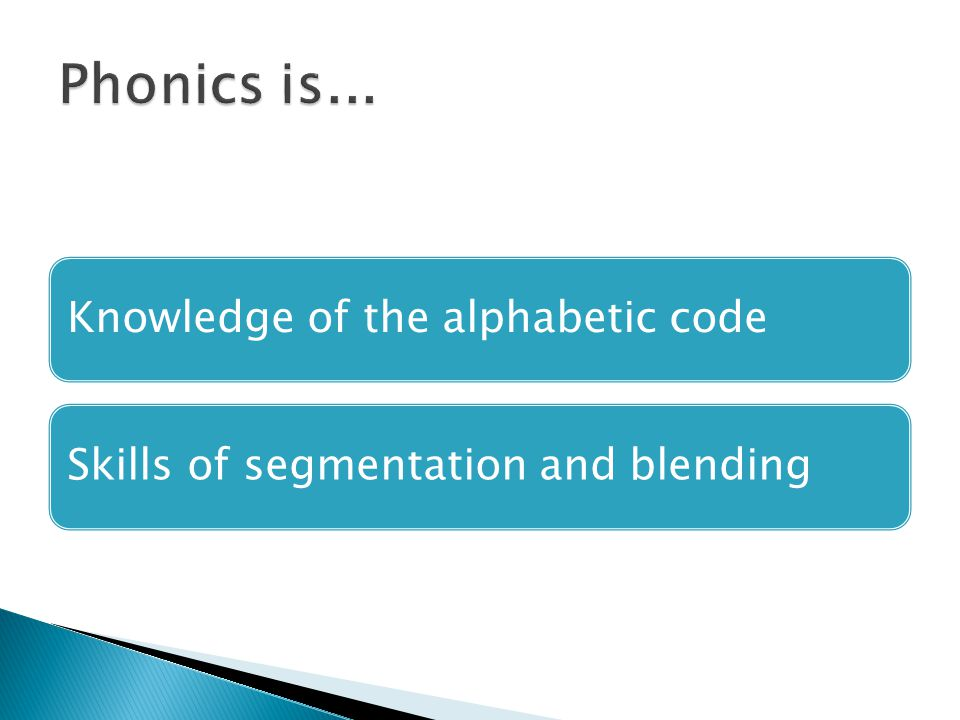 Phonics is... Knowledge of the alphabetic code