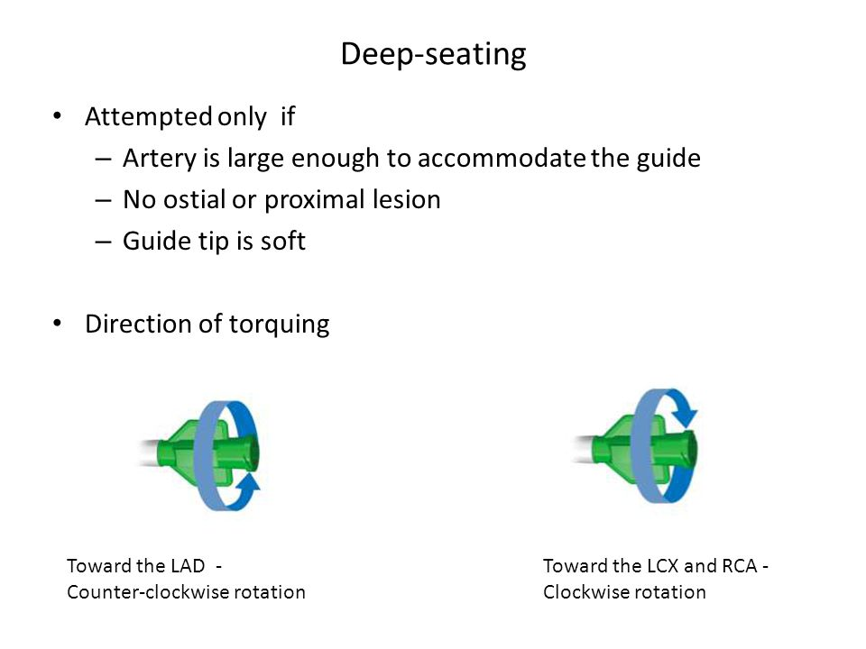 Deep-seating Attempted only if