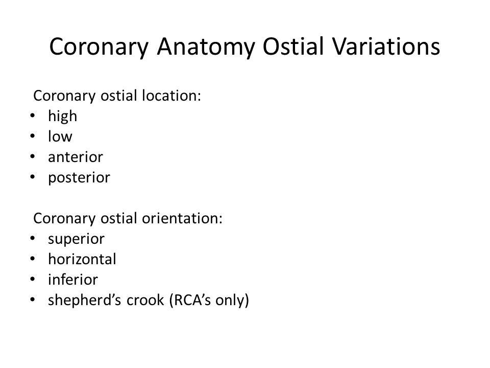 Coronary Anatomy Ostial Variations