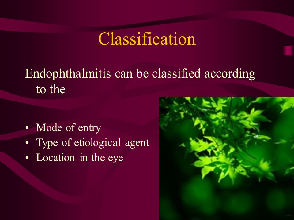 Classification Endophthalmitis can be classified according to the