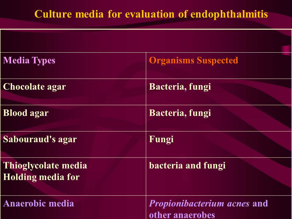 Culture media for evaluation of endophthalmitis