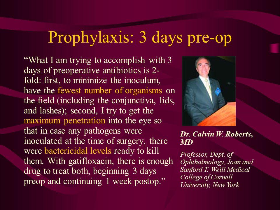 Prophylaxis: 3 days pre-op