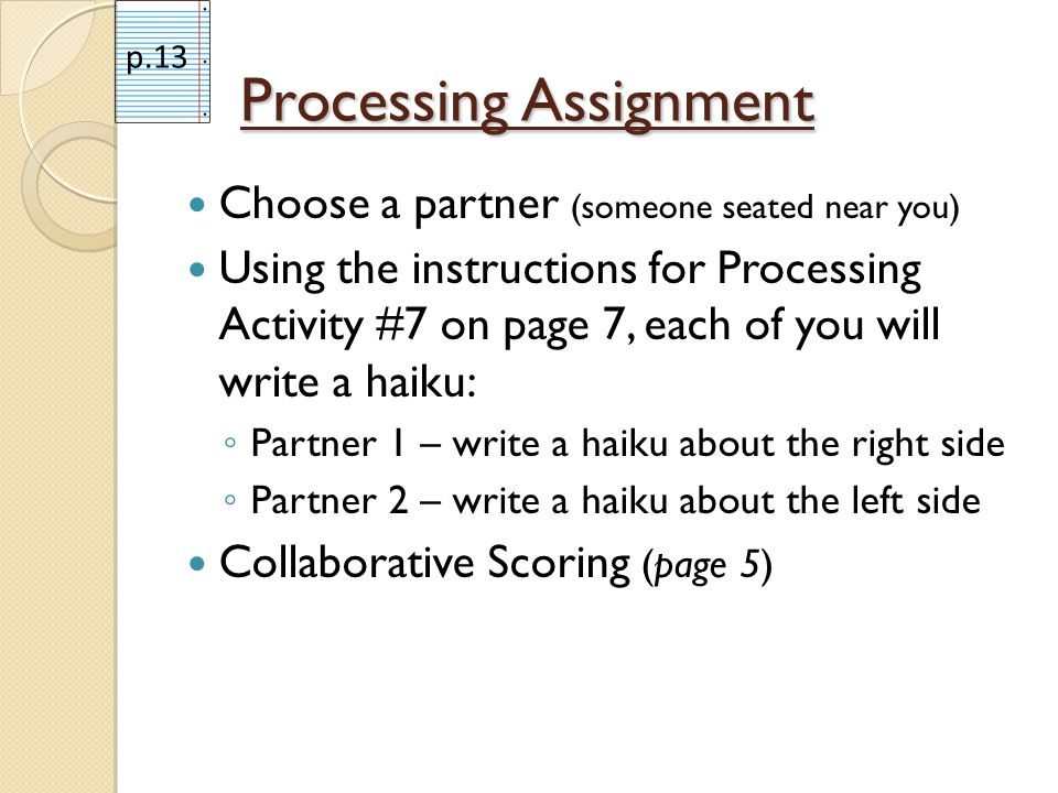 Processing Assignment