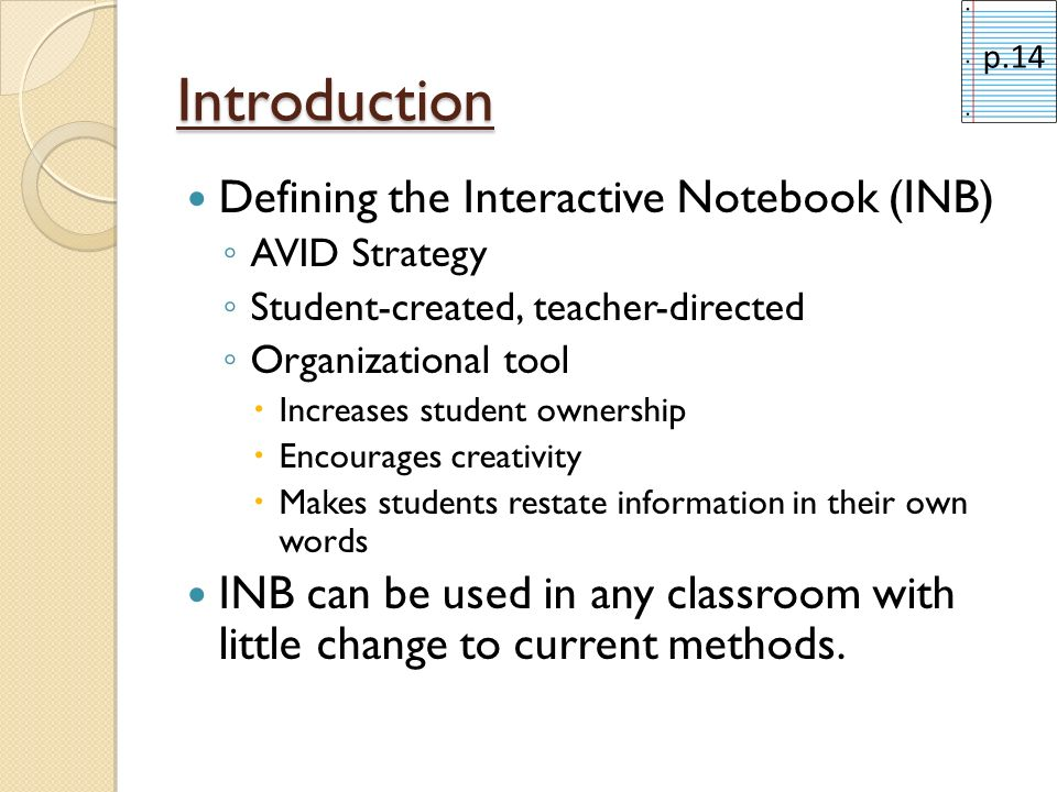 Introduction Defining the Interactive Notebook (INB)