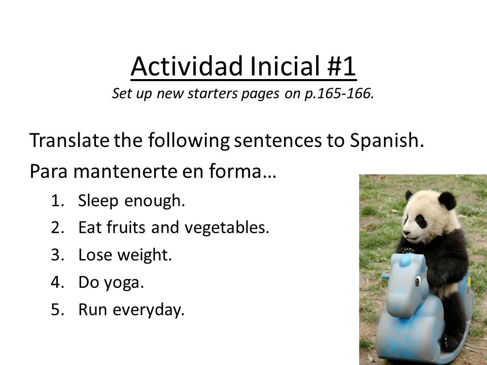 Actividad Inicial #1 Set up new starters pages on p.165-166.