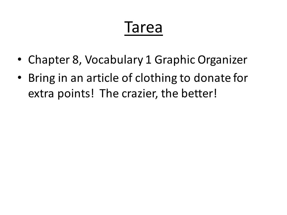 Tarea Chapter 8, Vocabulary 1 Graphic Organizer