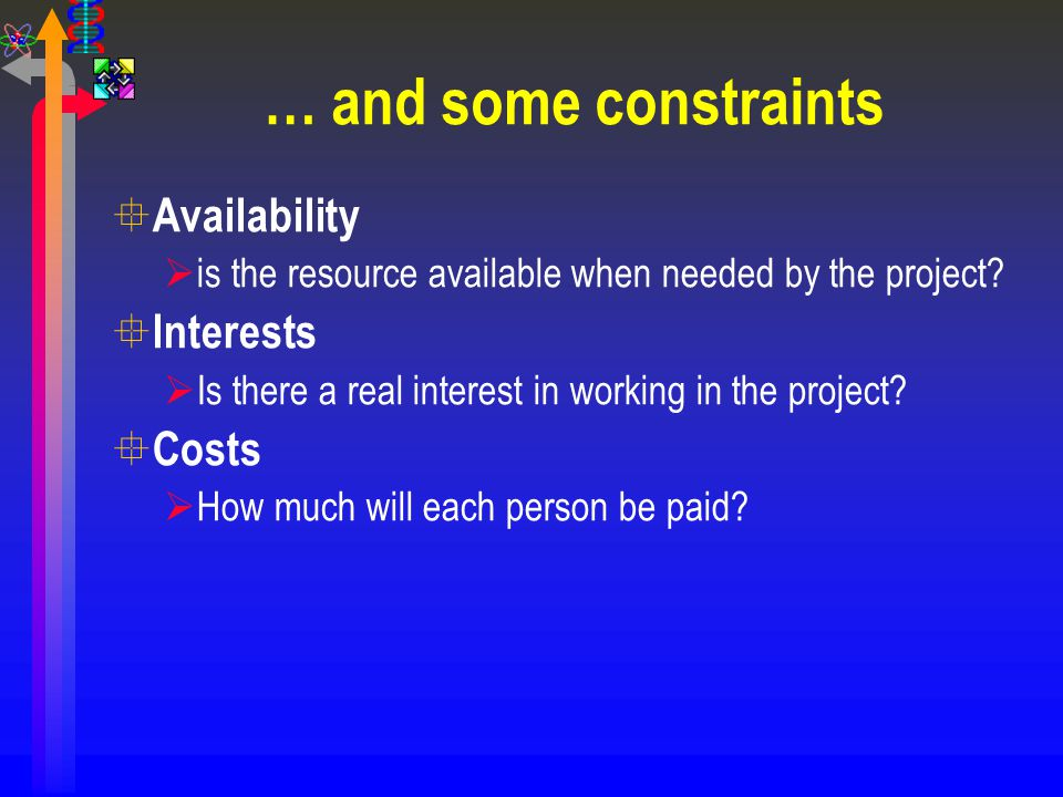 … and some constraints Availability Interests Costs