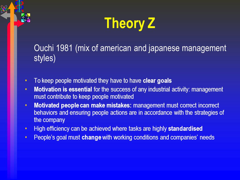 Theory Z Ouchi 1981 (mix of american and japanese management styles)