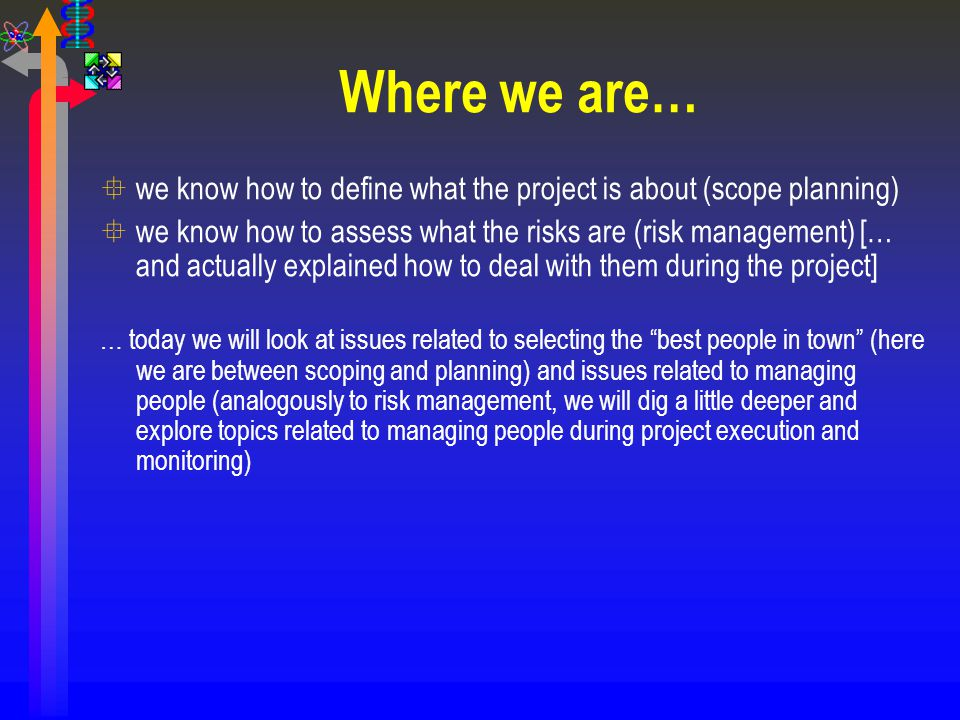 Where we are… we know how to define what the project is about (scope planning)