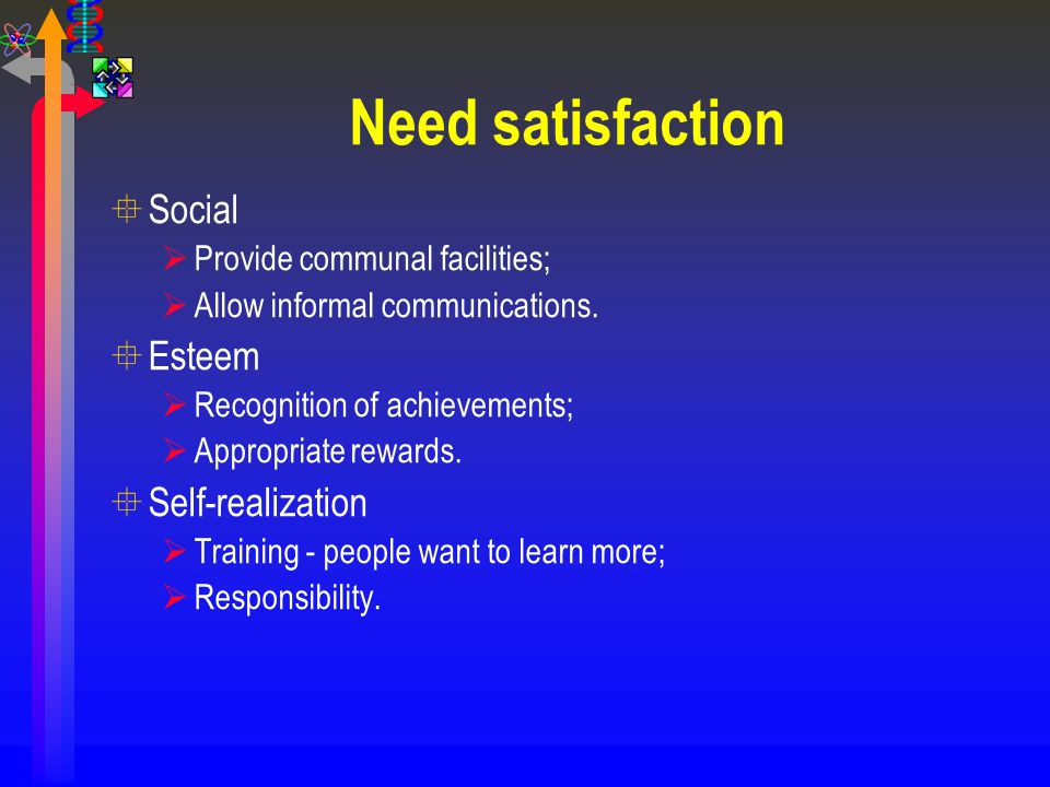 Need satisfaction Social Esteem Self-realization