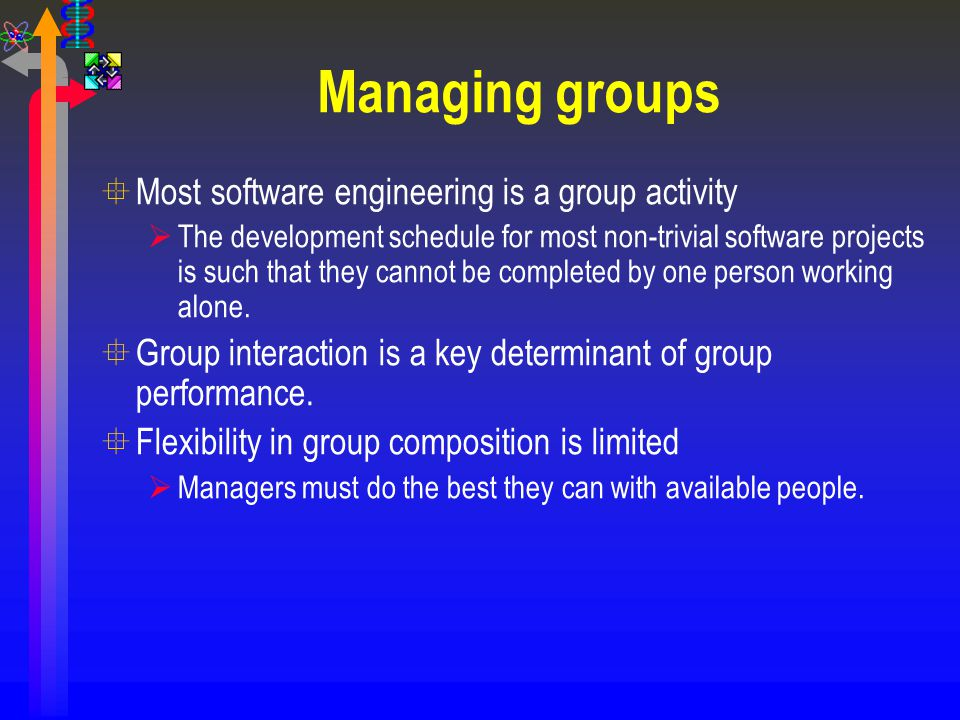 Managing groups Most software engineering is a group activity