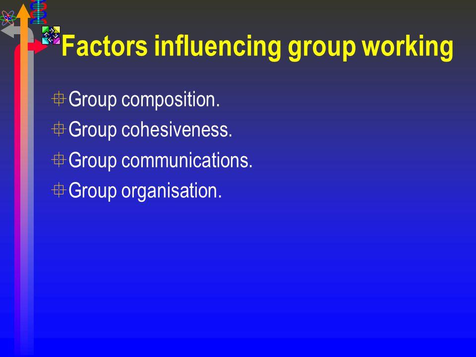 Factors influencing group working