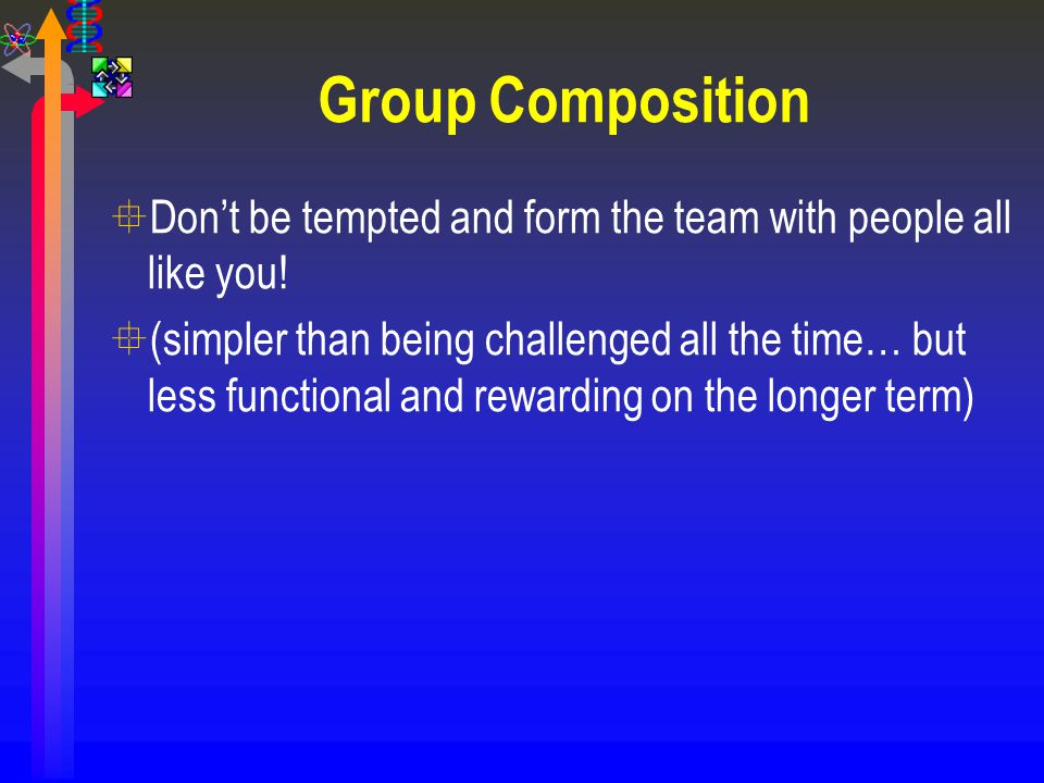 Group Composition Don't be tempted and form the team with people all like you!