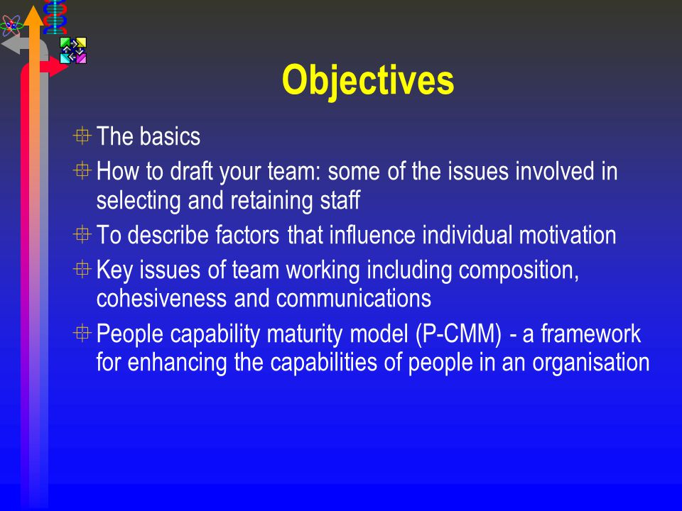 Objectives The basics. How to draft your team: some of the issues involved in selecting and retaining staff.