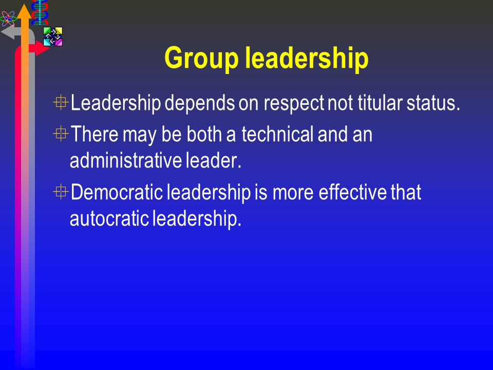 Group leadership Leadership depends on respect not titular status.