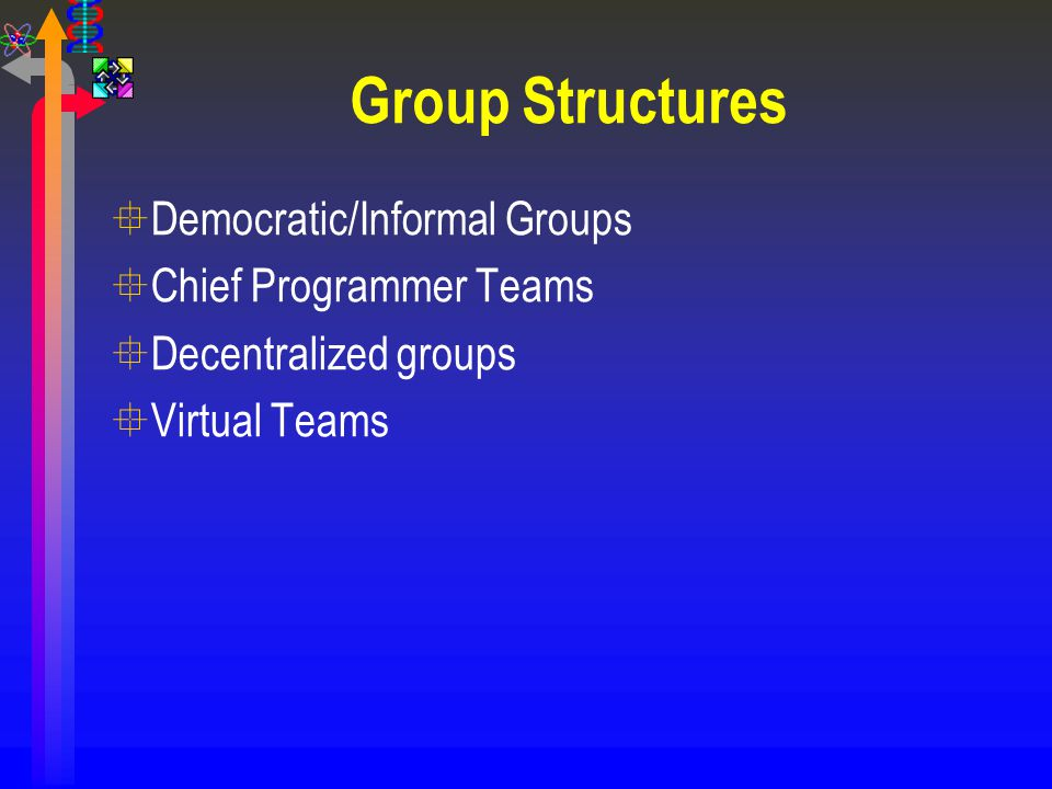 Group Structures Democratic/Informal Groups Chief Programmer Teams