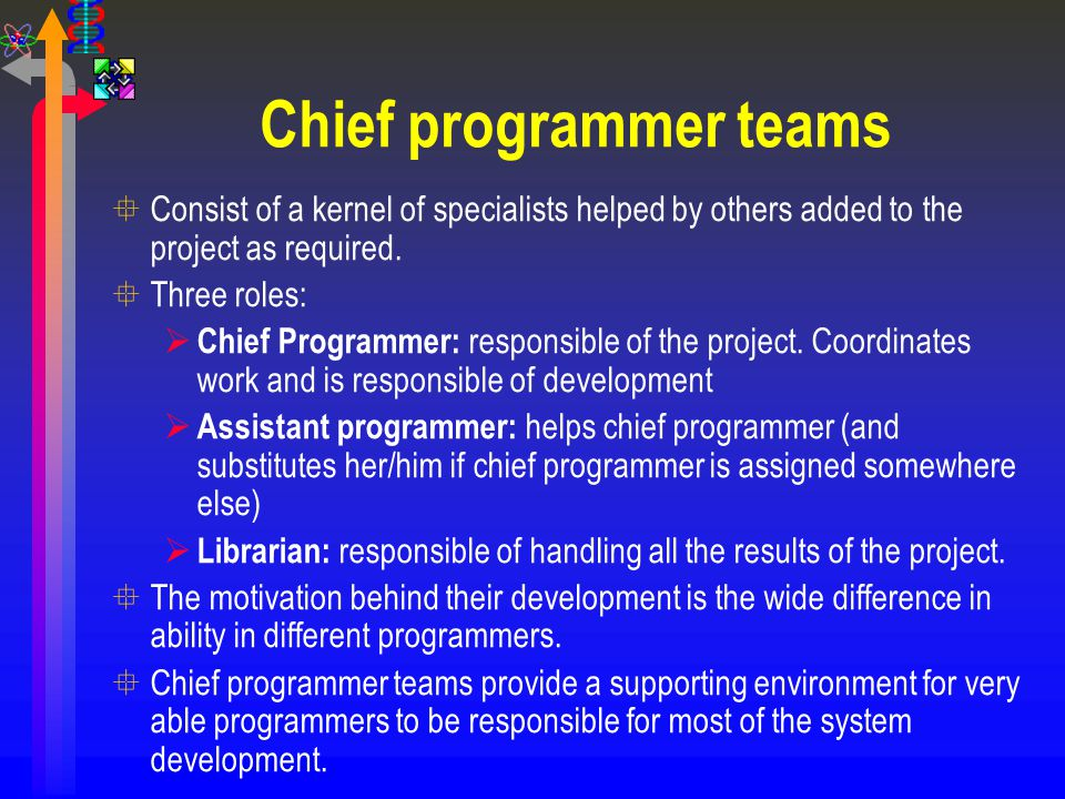 Chief programmer teams