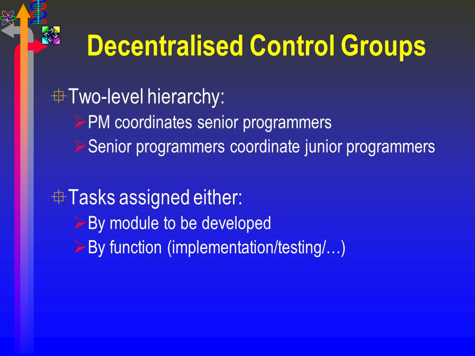 Decentralised Control Groups