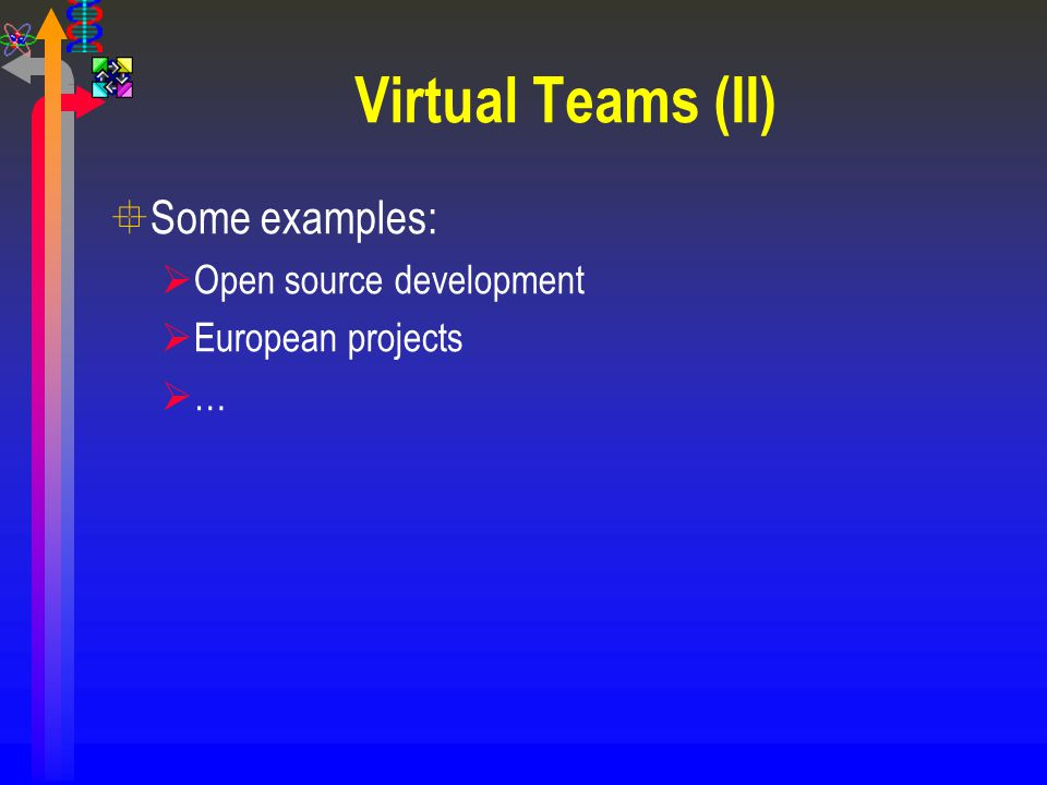 Virtual Teams (II) Some examples: Open source development
