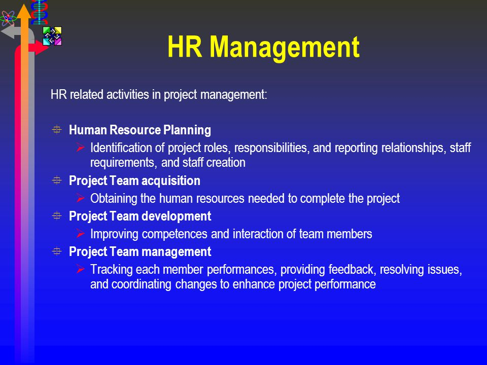 HR Management HR related activities in project management:
