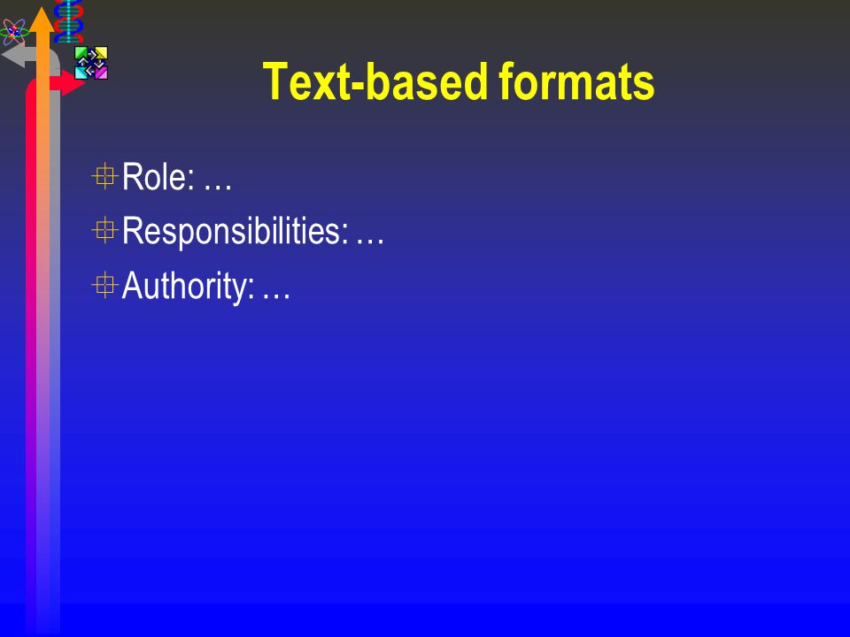 Text-based formats Role: … Responsibilities: … Authority: …