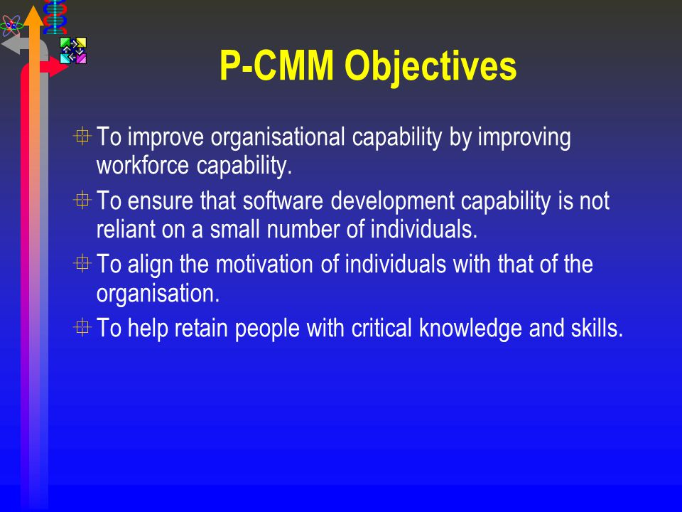 P-CMM Objectives To improve organisational capability by improving workforce capability.