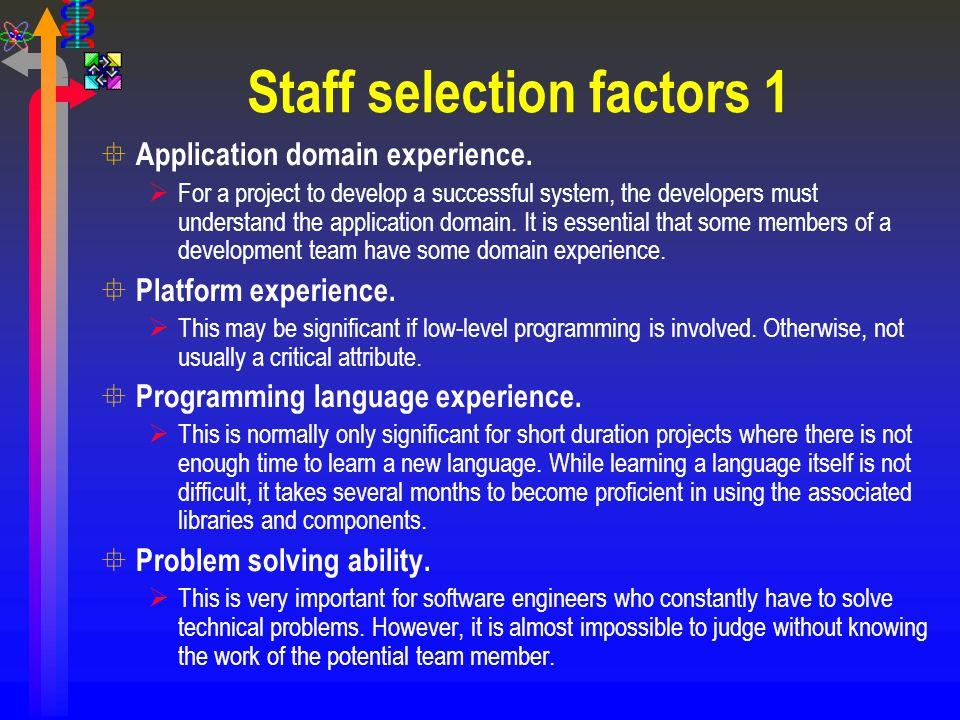 Staff selection factors 1
