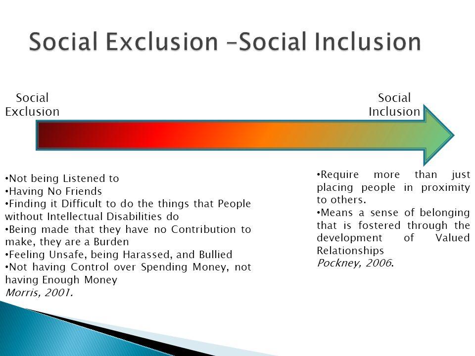 Social Exclusion –Social Inclusion