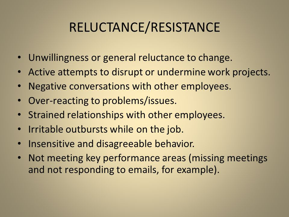 Reluctance/Resistance