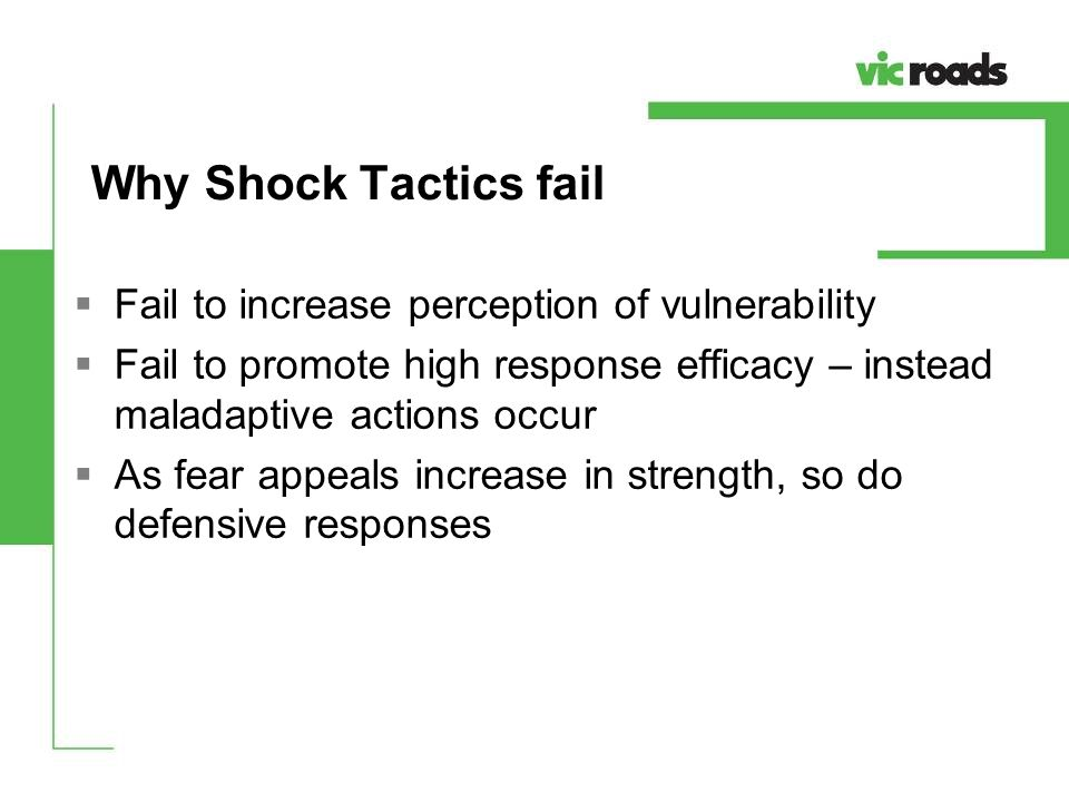 Why Shock Tactics fail Fail to increase perception of vulnerability