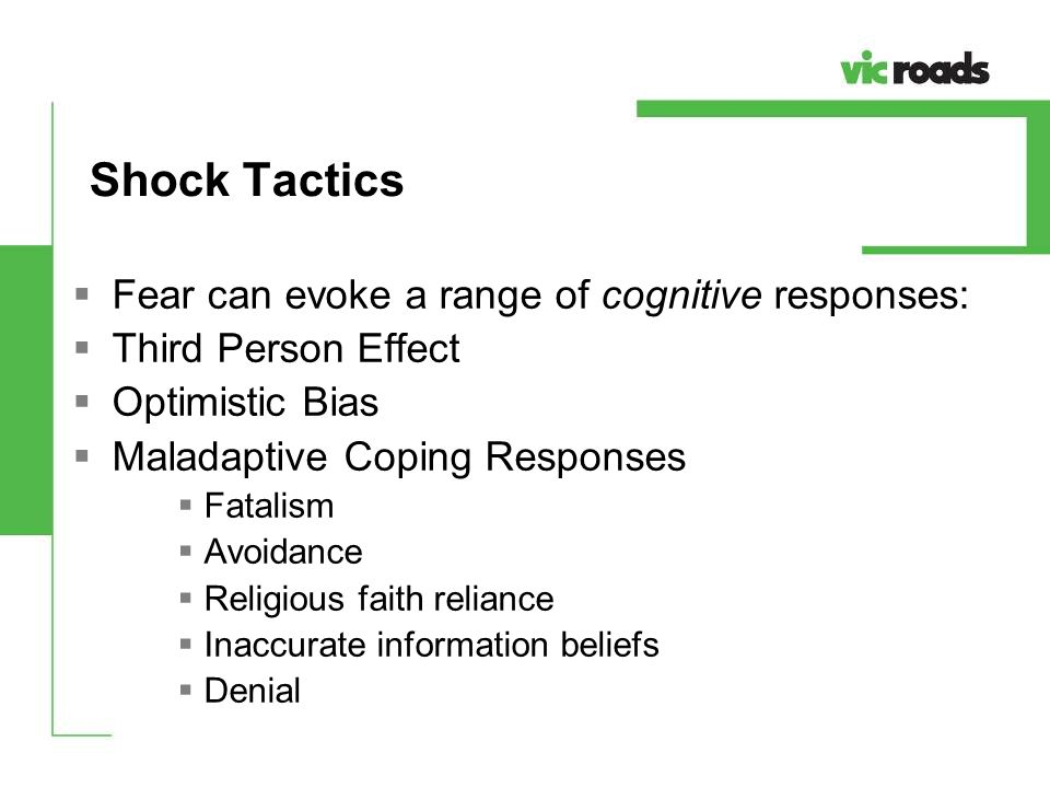 Shock Tactics Fear can evoke a range of cognitive responses: