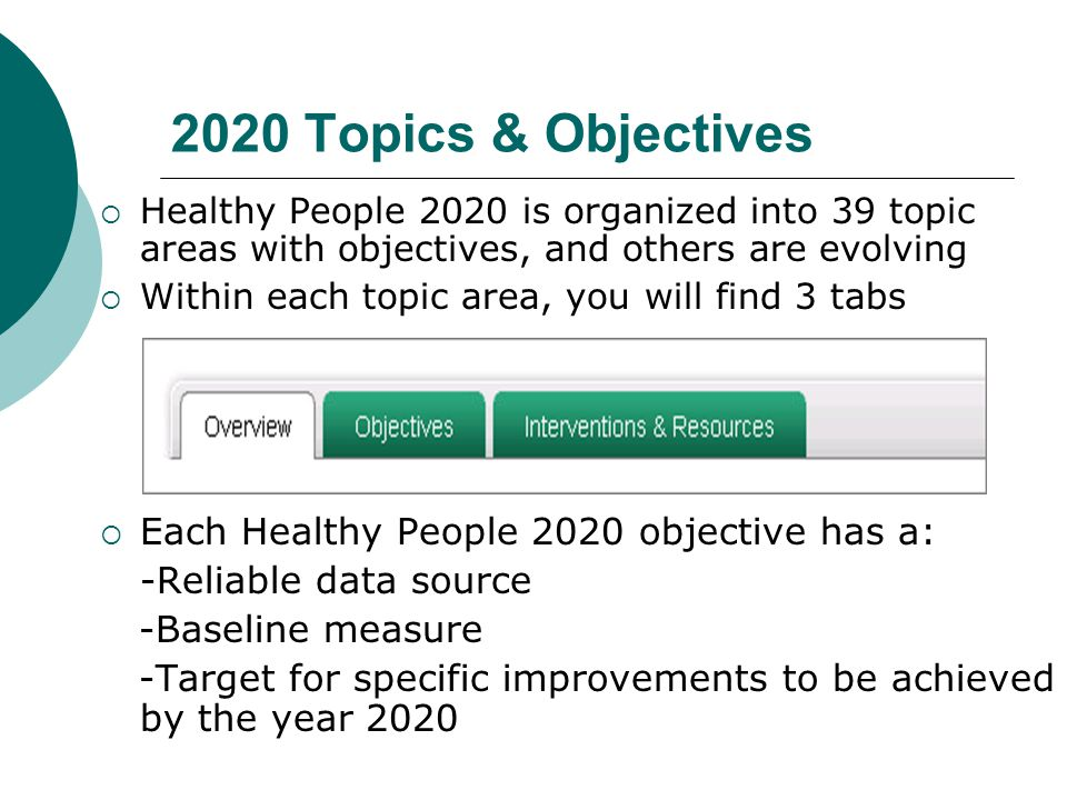 2020 Topics & Objectives Each Healthy People 2020 objective has a: