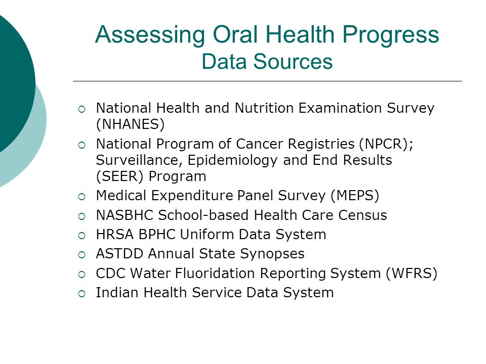 Assessing Oral Health Progress Data Sources
