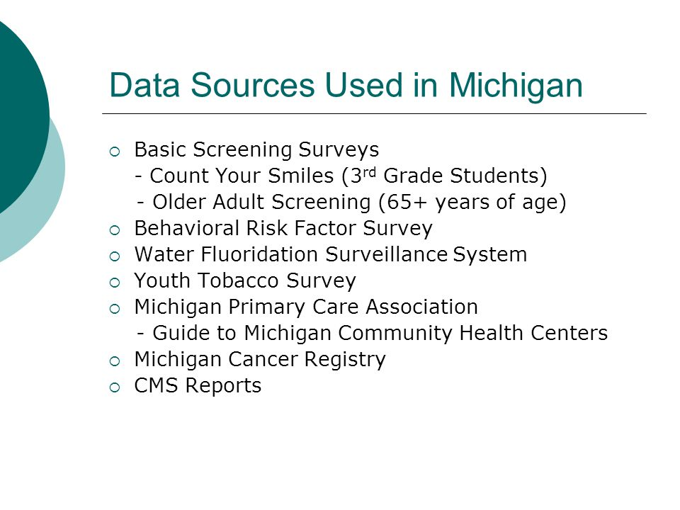 Data Sources Used in Michigan