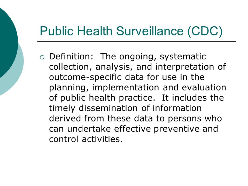 Public Health Surveillance (CDC)