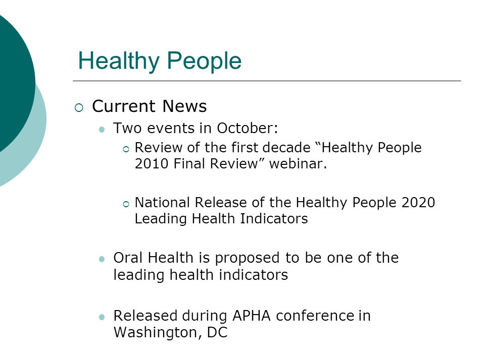 Healthy People Current News Two events in October: